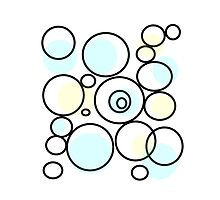 PASTEL abstract art, blue and yellow, circles, dots by ackelly4
