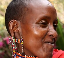 Portrait of a Young Maasai (or Masai) Woman, East Africa   by Carole-Anne