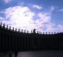 Vatican Sculptures against skyline by Lisa Trainer