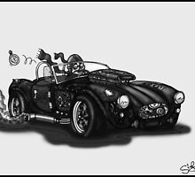 STEAMPUNK AC COBRA CAR (BLACK AND WHITE) by squigglemonkey