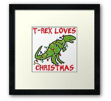 T-REX LOVES CHRISTMAS Framed Print