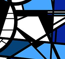Mirror Blue Contemporary shattered glass abstract art by 7RayedDesigns