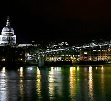 St. Paul's and the Millenium Bridge, London by Vincent Abbey
