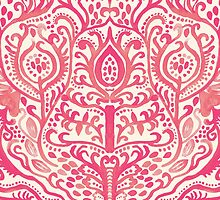 Strawberry and Cream Watercolor Tulip Damask by Tangerine-Tane