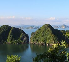 Bay Panorama II - Ha Long Bay, Vietnam. by Tiffany Lenoir