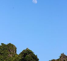 The Moon at Day Light - Ha Long Bay, Vietnam. by Tiffany Lenoir