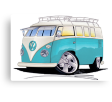 VW Splitty (Custom Blue) Camper Van Canvas Print