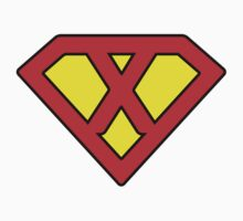 X letter in Superman style Kids Clothes