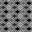 Four Shades Quatrefoil Pattern Monochrome by Ra12
