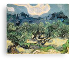 Olive Trees by Vincent van Gogh. Famous landscape oil painting. Van Gogh's unique swirling painting style. Canvas Print