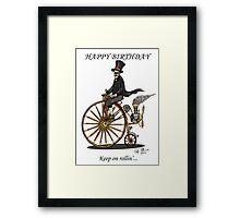STEAMPUNK PENNY FARTHING BICYCLE BIRTHDAY CARD Framed Print