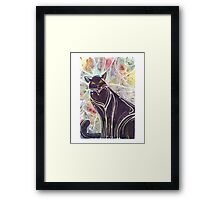 Shadow Cat Watercolour  Framed Print