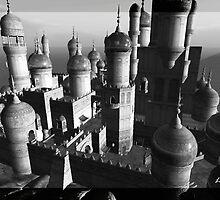 1001 night's castle black & white by LookerLumet