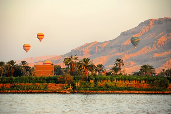 Hot Air Balloons over the Nile River, Egypt by Shannon Plummer