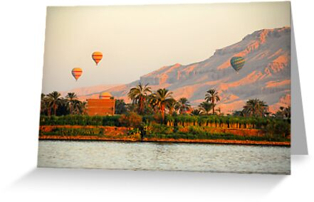 Hot Air Balloons over the Nile River, Egypt by Shannon Benson