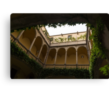 Courtyard - Green Mediterranean Serenity and Peace Canvas Print