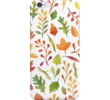 Watercolor autumn leaves pattern iPhone Case/Skin