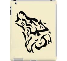 Tribal wolf head on light brown background iPad Case/Skin