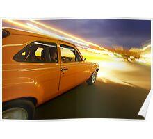 Orange Ford Mk1 Escort at Night Poster