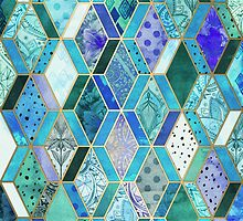 Sapphire & Emerald Diamond Patchwork Pattern by micklyn