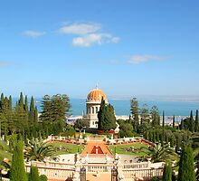 Outlook onto the Shrine of the Bab-Mt Carmel, Haifa, Israel by Anthony  Ket