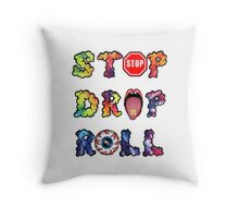 Stop, drop and roll Rainbow Throw Pillow