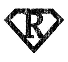 R letter in Superman style Photographic Print