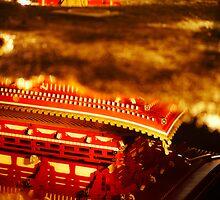 Asakusa temple reflection by Yves Rubin