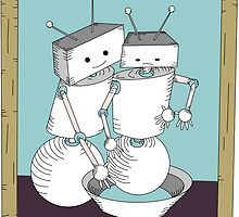 Robot Art after Cassatt's The Bath by Danielle Kerese