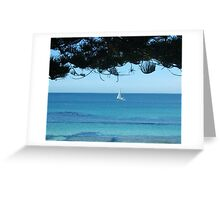 Sailing Around an Island on a Sunday Afternoon. Greeting Card
