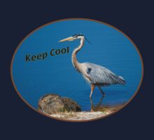 "Great Blue Heron ""Keep Cool"" T-Shirt by Delores Knowles"