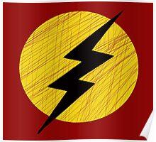 Grunge Lightning Bolt. Poster
