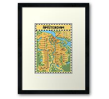 Super Mario Bros 3 Style Amsterdam Metro Network Map Framed Print