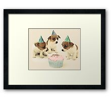 Vintage Puppy Birthday Card Framed Print