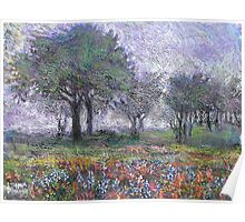Blue Bonnets in the mist Poster