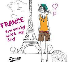 A girl visits France by skycn520