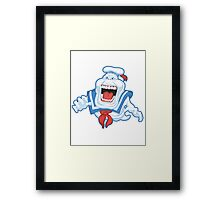 Funny Ghostbusters Slimer Stay Puft Marshmallow Man Mash Up Framed Print