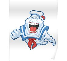 Funny Ghostbusters Slimer Stay Puft Marshmallow Man Mash Up Poster