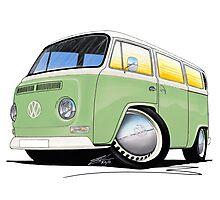 VW Bay Window Camper Van Light Green Photographic Print