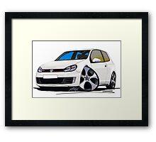 VW Golf GTi (Mk6) White Framed Print