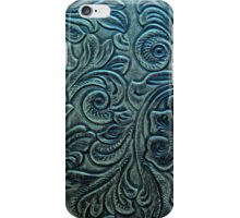 Embossed Tooled Leather Flowers & Scrollwork Design iPhone Case/Skin