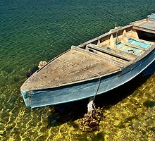 Boat on golden water by Silvia Ganora