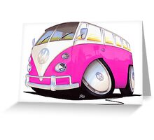 VW Splitty Camper Van Pink Greeting Card