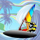 Windsurfer on Ocean Waves by BluedarkArt