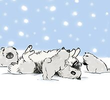 Keeshond Dogs Playing in the Snow by Jenn Inashvili
