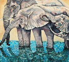 Thirsty elephants taking a dip - original oil painting by Suzanne Coutchie by galleriecoutu