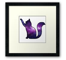 Galaxy Cat Playing Framed Print