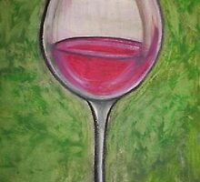 red  wine in glass by Gina Syracuse