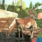 Horse At The Pond by Weshon  Hornsby