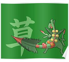 Sceptile With Grass Kanji Poster